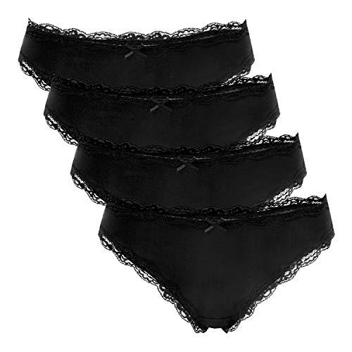 Charmo Cotton Panties Unterwäsche Schwarz Bikini Unterhose Spitze Slips 4er Pack Schleife Brief XL -