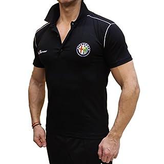 Alfa Romeo Sport Poloshirts Bestickt Bestickung Stickerei Binder Hemd Schwarzes Logo Emblem Auto Moto (2XL)