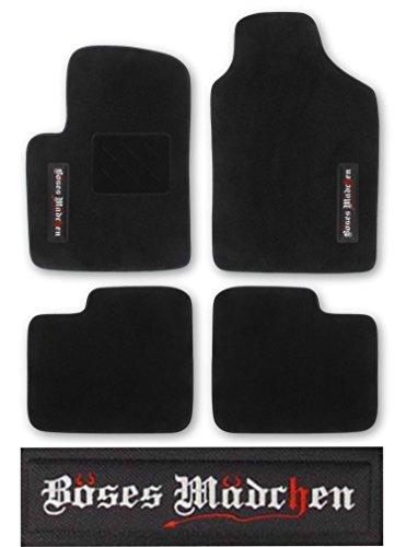 """Preisvergleich Produktbild Passform Fussmatte schwarz mit Stickmotiv """"BÖSES MÄDCHEN"""" für Suzuki Swift Bj. 05/05 - 08/10 mit Mattenhalter Fahrermatte"""