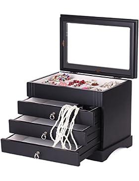Schmuckkasten aus Holz(MDF) schmuckkoffer Kosmetikkoffer Schmuckkästchen Aufbewahrungsbox für Schmuck MG001 (schwarz)