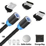 Magnétique Câble USB Type C + Micro Charge avec LED pour Android Ultime Rapide / NO Synchro - 3 en 1 Nylon Tressé Câble Chargeur 2 Cable + 3 Adapters