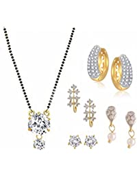 Efulgenz Jewellery Combo Of Gold & Rhodium Plated American Diamond Mangalsutra Pendant With Chain & Earrings For...