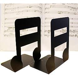 Juego de 2 sujetalibros, diseño de notas musicales, para niños y amantes de la música, decoración para el hogar o la oficina, de metal rígido