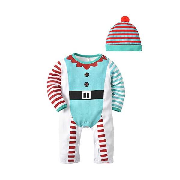 Bebe Mameluco Niños Pijama Mono - Bebé Niñas Conjunto de Ropa con Gorra Algodón Manga Larga Patrón de Navidad Onesie… 1