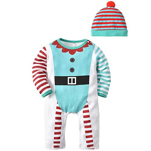 Baby Schlafanzüge Strampler Kleidung Set - Mädchen Jungen Overall mit Hut Schlafstrampler Baumwolle Langarm Pyjama Säugling Weihnachten Kostüme Kleinkind Einteiler Outfit