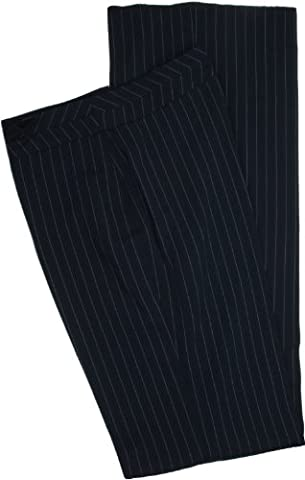 Simon Jersey Ladies Navy Blue Pinstripe Wide Leg Unhemmed Trousers Size 30 35L