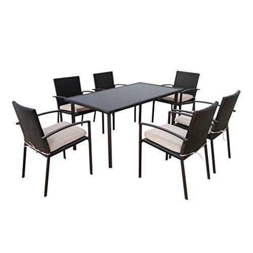 Sitzgruppe Gartenmöbel-Set aus schwarzem Polyrattan - Essgruppe 7-teilig mit einem Esstisch und 6...