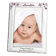 Idea Regalo - floreale farfalla nome cornice portafoto in argento 5x 7–personalizzabile con un nome e messaggio