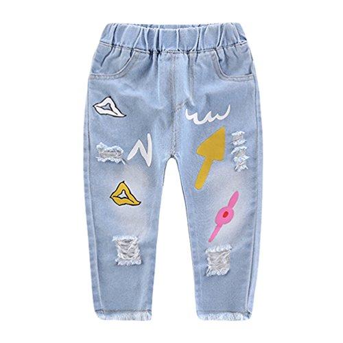 Yujeet Mode Knielange Denim Hosen Für Babys Mädchen Weiche Atmungsaktive Bequem Karikatur Shredded Jeans 90 - Zerschlissene Jeans