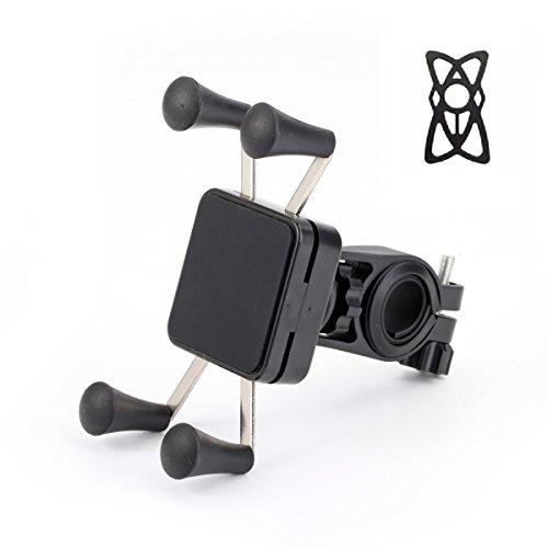 meacom Fahrrad Handyhalterung, Handyhalterung Fahrrad Motorrad Handy Halter Fahrradhalterung mit Silikon-Band 360° Drehbare Handysbreite Outdoor 8.89-15.24cm für Handy und GPS (BH005 -Schwarz)