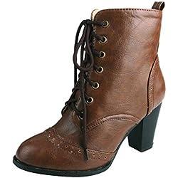 POLP Botines de Tacón Mujer Invierno con Cordones Clásicas Botas de tacón Alto Tacón Grueso Zapatos de Tacón Partido Vestido De Boda A la Moda Tacón Ancho Casual