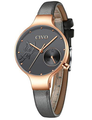 CIVO Relojes Mujeres Señoras Reloj de Pulsera Moda Diseñador Impermeable Minimalista Gris Relojes para Mujeres y Niñas Cuarzo Analógico Vestido Negocios Casual