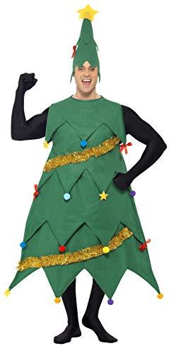 SMIFFYS Costume Albero di Natale, Verde, con tunica e cappello, Deluxe