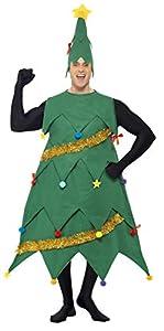 Smiffys-33301 Disfraz de árbol de Navidad, con túnica y Gorro, Deluxe, Color Verde, Tamaño único (Smiffy