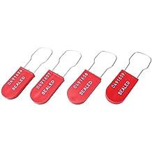 """Accuform signos tls123rd plástico candado precintos de alambre, Impreso """"sellados y al azar Start secuencial numeración, rojo (Pack de 100)"""