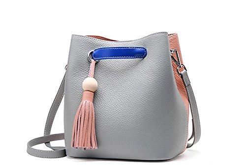 Xinmaoyuan Damen Handtaschen Leder Handtaschen Messenger Umhängetasche Sommer Hit First Class Rindsleder Farbe Wild Quaste Einfache Damen Bucket Bag, Grün Grau