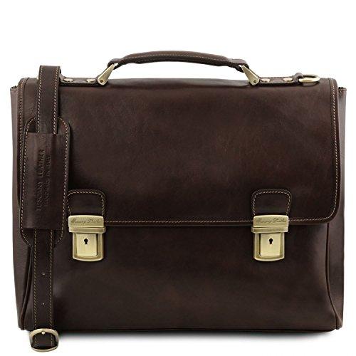 Tuscany Leather Trieste Esclusiva cartella porta notebook in pelle con 2 scomparti - TL141662 (Testa di Moro)