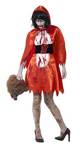 Smiffys Disfraz de Chica de la caperuza Zombi, Rojo, con Traje y Capa