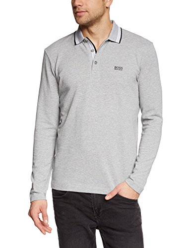 BOSS Green Herren Langarmshirt Plisy, Gr. Small, Grau (Light/Pastel Grey 059)