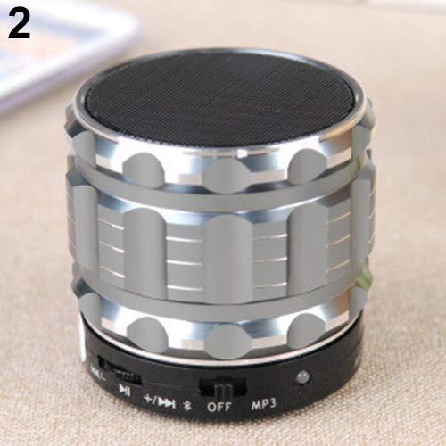 NAttnJf Bluetooth Lautsprecher, Portable Bluetooth Wireless Lautsprecher Bass Subwoofer für Smartphone PC Tablet MP3 Silber Iluv Mini-mp3