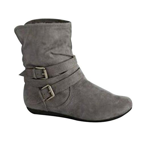 ZKOO Damen Kurzschaft Stiefel mit Gürtelschnalle Warm Gefüttert Flach Winter-Stiefel Boots Warm Grau (Graue Flache)