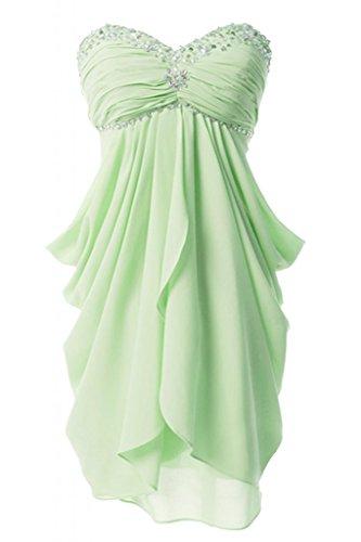Victory bridal chouchou forme de cœur et strass abendkleider court tanzkleider cocktailkleider brautjungfernkleider d'été en chiffon Vert - Salbei