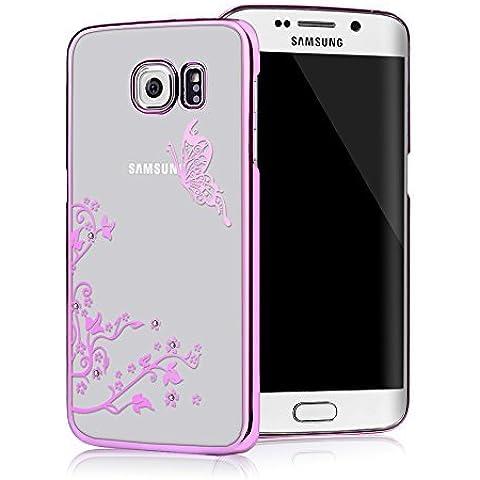 Galaxy S6 Edge Funda Transparente Crystal PC Dura Case - Mavis's Diary® Bling Diamantes Estuche Rígido Carcasa para Samsung Galaxy S6 Edge Diseño Mariposa