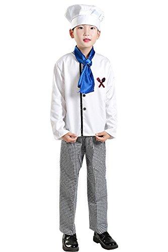 BOZEVON Kinder Jungen Mädchen Männer Frau Master Chef Kit, Kinder Kostüm/Roleplay Kostüm/Koch Uniform, Oberteile + Hose + Kochmütze + Krawatte (Weiß,EU 140 = Tag 150) (Militärische Frau Kostüm)