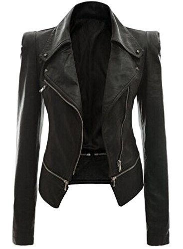 Ghope Damen Kunstleder Jacke Motorradjacke Ladies Oberbekleidung Lederjacke Outwear, Schwarz EU 46/Asia 4XL