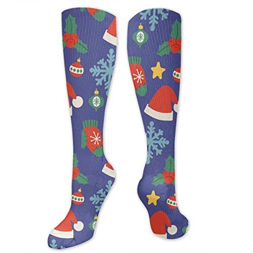 ocks Christmas Hats Blue Snowflakes Knee High Compression Stockings Athletic Socks Personalized Gift Socks Men Women Teens Girls ()