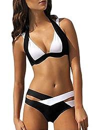 GenialES Conjuntos Bañador Bikini Traje de Baño Push Up sin Aros para Mujer Swimsuit Beachwear 4 Colores S M L XL