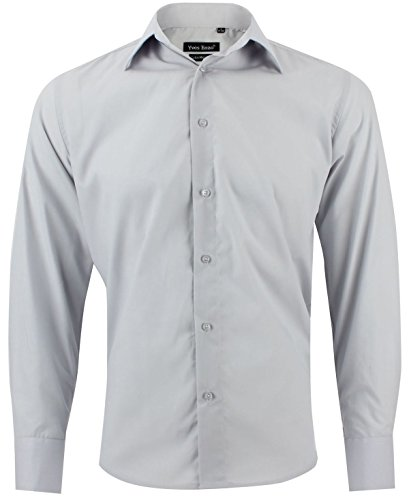 Enzo camicia uomo classica grigio chiaro regular fit confortevole e elegante con maniche lunghe taglia xl