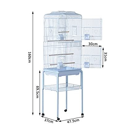 PawHut Large Metal Bird Cage w/ Breeding Stand Feeding Tray Wheels for Parrot Parakeet Macaw Pet Supply Light Blue 47.5L… 2