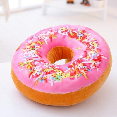 ChengBao der Donut Kissen 3D-niedliche Kissen Baumwolle Kissen zurück Taille Mittag essen Büro, Mittel 60 CM, Pink Lady (Schokolade Orange Peel)