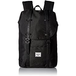 Herschel 10329 - Mochila Casual Adulto Unisex, Black/Black Synthetic Leather (Negro) - 10329-00535-OS