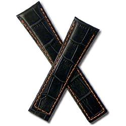 Dark Navy Blue crocodile-style leather strap with orange stitching to fit TAG Heuer Monaco & Targa Florio models starting CS21-, CW21-, CX21- & WW21-