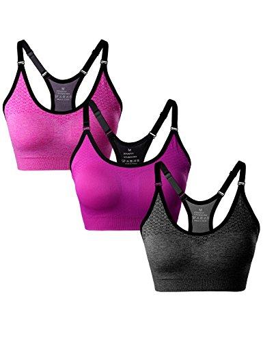 Match Soutien-gorge sans Rembourrage Racerback sans Couture pour Femme pour Yoga Gym Fitness #003 1 Lot de 3(Gris-Rose-Prune)