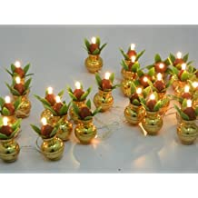 A2Z Electric Golden Kalash Diya Deepak Tealight Rice Light Lamp For Pooja/Puja/Mandir/Home Decoration And Free 1 Hand Shape LED Light Keychain