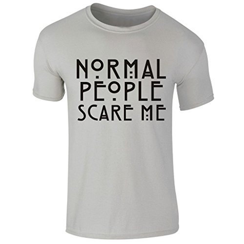 (New Men's Normal Peoples Scare Me American Horror Story Movie Halloween T Shirt UK S-XXL (Small) Grey)