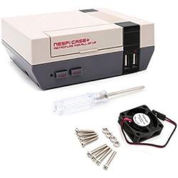 YIKESHU Retroflag Nespi Case Plus botón de Encendido Funcional con Apagado Seguro para Raspberry Pi 3 B + (B Plus), Ventilador de refrigeración pequeño sin escobillas (Estuche + y Ventilador)