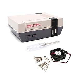 YIKESHU,NESPI Case,Bouton d'alimentation Fonctionnel avec arrêt sûr pour Raspberry Pi 3 B + (B Plus), transportant Un Petit Ventilateur de Refroidissement sans Balai (boîtier + et Ventilateur)