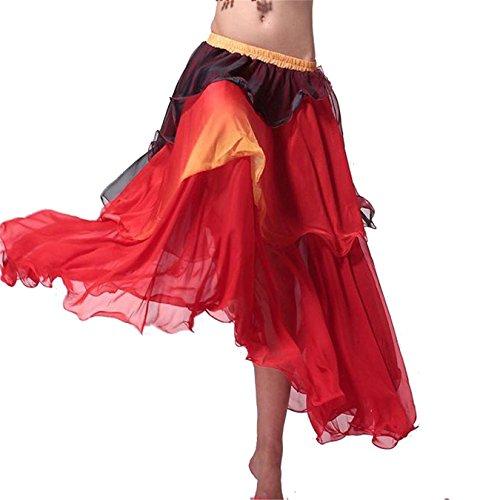 Onorevoli Gonna per la danza del ventre Swing Tiered danza costumi Maxi gonna danza vestiti (Tiered Circle)