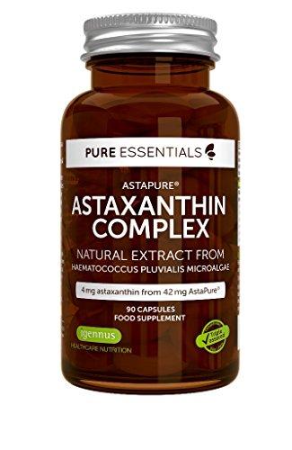 Pure Essentials Natürlicher Astaxanthin-Komplex, 4 mg Astaxanthin aus 42 mg AstaPure, mit Lutein und Zeaxanthin, 90 Kapseln