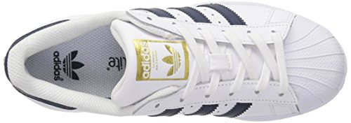 Adidas Youth Superstar Foundation Leather Trainers Footwear White Collegiate Navy