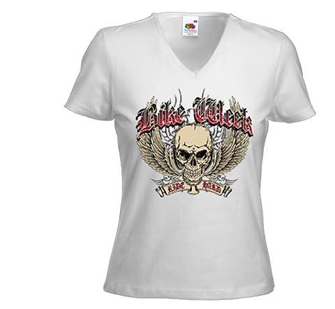 Biker Ladies T-Shirt Bike Week white V-Twin Metal Tattoo Gr. M