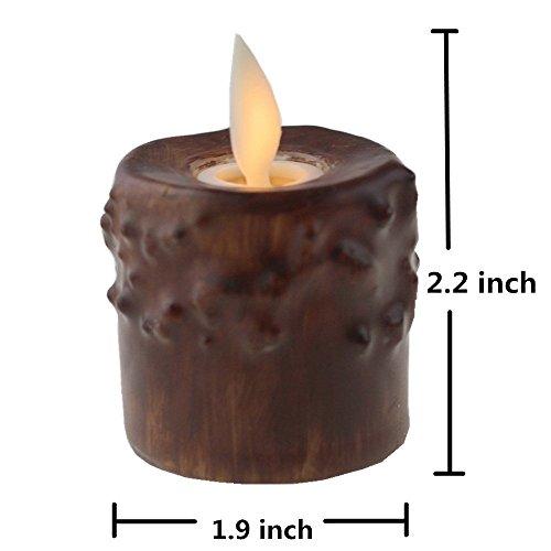 NONNO & ZGF 12 Pack Velas sin llama primitivas sin humo marrón Votive con temporizador - 1.9 X 2.2 ''