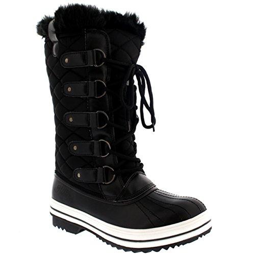 Damen Schnee Stiefel Nylon Tall Wasserdicht Gefüttert Regen Stiefel - Schwarz - 37 - CD0025
