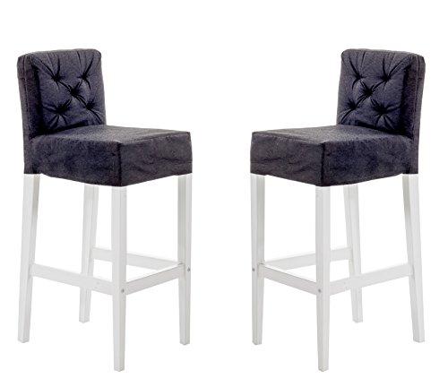 Ambientehome,Meuble trés Chic pour intérieur et extérieur, chaises de Bar de Bois Massif, Blancs avec des Housses Gris