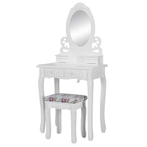 Woltu® mb6028cm specchiera con sgabello ben imbottito tavolo cosmetici trucco toeletta con 4 cassetti in legno specchio bianco