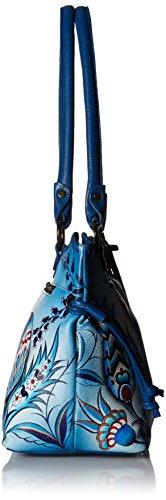 Anuschka-569 di lusso dipinta a mano, in pelle, chiusura con cordoncino, da donna, elegante per lo shopping, Multicolore (Bewitching Blues), Multicolore (Bewitching Blues)